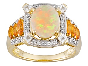 Ethiopian Opal 10k Yellow Gold Ring 2.54ctw