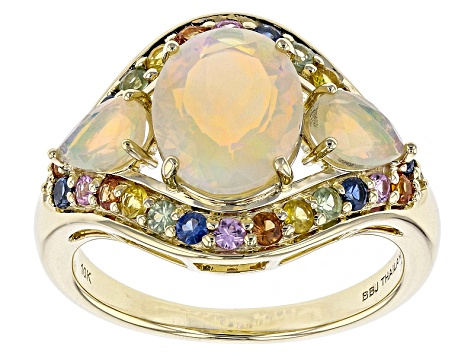Ethiopian Opal 10k Yellow Gold Ring 2.42ctw