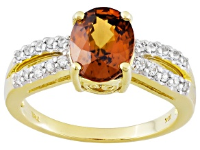 Orange Sienna Zircon 10k Yellow Gold Ring 2.73ctw