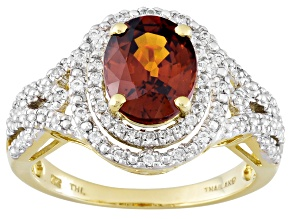 Orange Sienna Zircon 10k Yellow Gold Ring 2.75ctw
