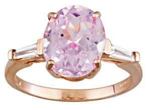 Pink Kunzite 10k Rose Gold Ring 5.26ctw