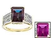 Color Change Lab Created Alexandrite 10k Yellow Gold Ring 4.57ctw