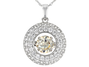 Fabulite Strontium Titanate And White Zircon 10k White Gold Pendant With Chain 1.71ctw