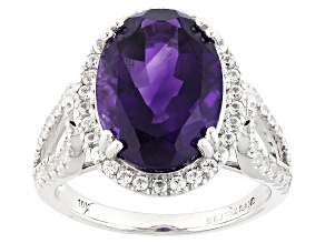 Purple Amethyst 10k White Gold Ring 4.74ctw