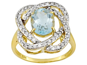 Blue Aquamarine 10k Yellow Gold Ring 1.56ctw