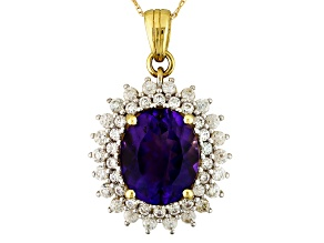 Purple Morrocan Amethyst And White Zircon 10k Yellow Gold Pendant With Chain 3.84ctw