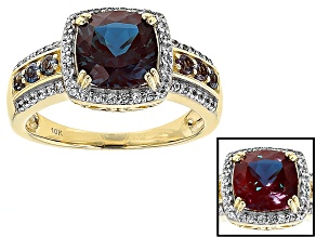 Color Change Lab Created Alexandrite 10k Yellow Gold Ring 2.77ctw