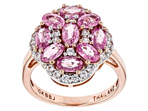 Pink Sapphire And White Zircon 10k Rose Gold Ring 2.76ctw