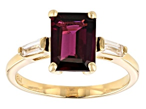 Grape Color Garnet 10k Yellow Gold Ring 3.03ctw