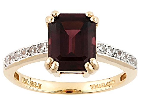 Grape Color Garnet 10k Yellow Gold Ring 2.96ctw