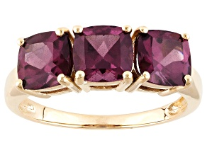 Grape Color Garnet 10k Yellow Gold Ring 2.81ctw