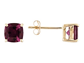 Grape Color Garnet 10k Yellow Gold Earrings 1.87ctw