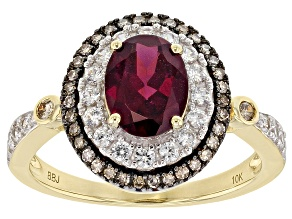 Purple Grape Color Garnet 10k Yellow Gold Ring 1.72ctw