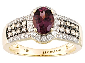 Grape Color Garnet 10k Yellow Gold Ring 1.32ctw