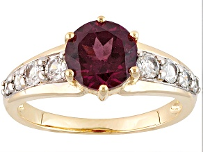 Grape Color Garnet 10k Yellow Gold Ring 1.69ctw