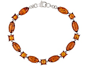 Orange Amber Rhoidum Over Sterling Silver Bracelet.