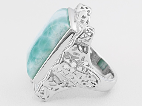 Blue Larimar Rhodium Over Sterling Silver Ring.