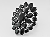 Black Spinel Sterling Silver Cluster Ring 9.48ctw
