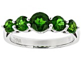Green Russian Chrome Diopside Sterling Silver 5-Stone Ring 1.32ctw.