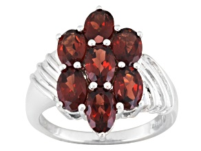 Red Garnet Sterling Silver Ring 3.40ctw.
