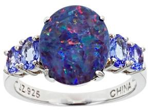 Blue Australian opal triplet sterling silver ring .66ctw