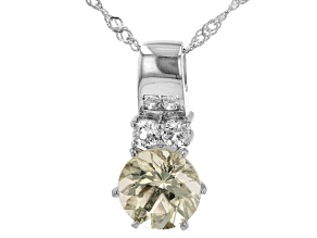 Yellow Mexican Labrodorite And White Topaz Sterling Silver Pendant With Chain 2.40ctw.