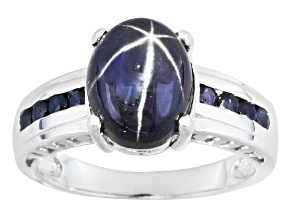 Blue Star Sapphire Sterling Silver Ring 4.31ctw.