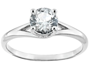 White Zircon Sterling Silver Solitaire Ring 1.21ctw.