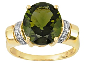 Moldavite 3.40ct Oval With Diamond Accent 10k Yellow Gold Ring