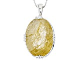 Golden Rutilated Quartz Silver Solitaire Pendant With Chain 23.58ct