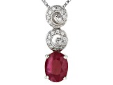 Red Ruby Sterling Silver Pendant With Chain 1.27ctw
