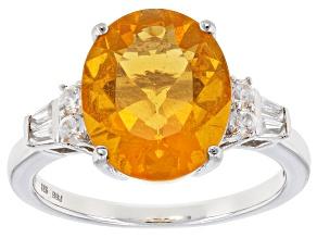 Orange Brazilian Fire Opal Sterling Silver Ring 2.91ctw