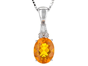 Orange Brazilian Fire Opal Silver Pendant With Chain 1.53ctw
