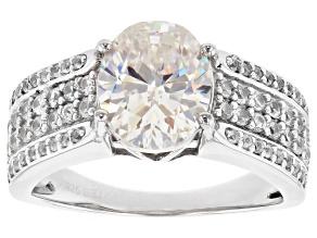 White Fabulite Strontium Titanate Sterling Silver Ring 4.13ctw.