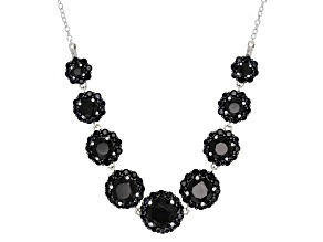 Black Spinel Sterling Silver Necklace 8.57ctw