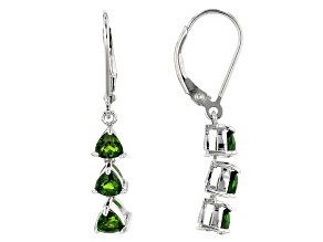 Green Chrome Diopside Silver Earrings 1.46ctw