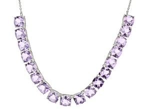 Purple Orchid Amethyst Silver Necklace 55.53ctw