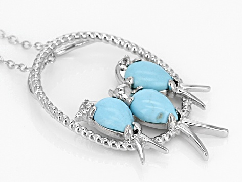 Blue Turquoise Sterling Silver Bird Slide With Chain .03ctw