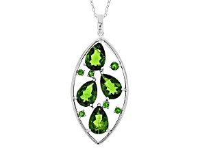 Green Chrome Diopside Sterling Silver Pendant With Chain 7.51ctw