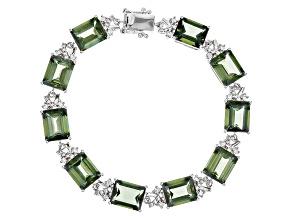 Green Labradorite Sterling Silver Bracelet 30.42ctw