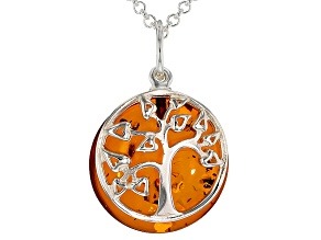 "Orange Amber Sterling Silver ""Tree Of Life"" Pendant With Chain"