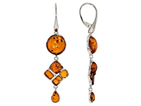 Orange Amber Sterling Silver Earrings