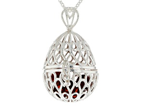 Orange Amber Beads in Sterling Silver Filigree Egg Pendant With Chain