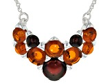 Orange Amber Sterling Silver Necklace
