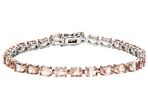 Pink Morganite Sterling Silver Tennis Bracelet 10.10ctw