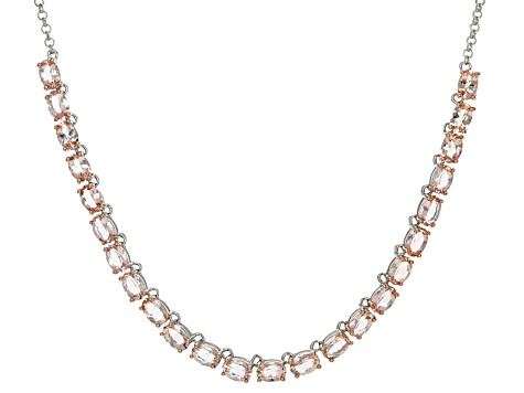 Pink Morganite Sterling Silver Necklace 8.87ctw