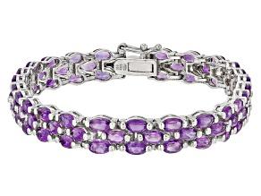 Purple Amethyst Sterling Silver Bracelet 12.96ctw