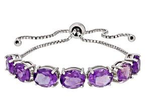 Purple Amethyst Sterling Silver Bolo Bracelet 10.15ctw