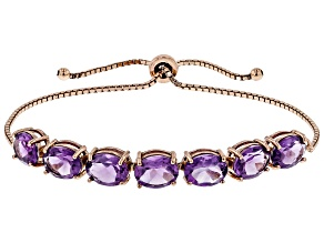 Purple amethyst 18k rose gold over silver bolo bracelet 10.15ctw