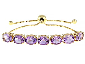 Purple Amethyst 18k Yellow Gold Over Silver Bolo Bracelet 10.54ctw